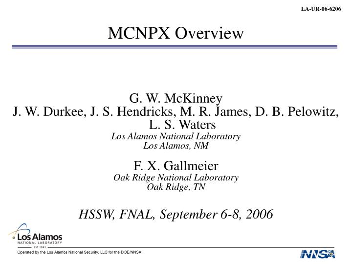 Mcnpx overview