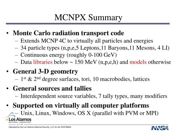 Mcnpx summary