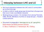 interplay between lhc and lc