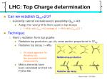 lhc top charge determination