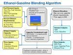 ethanol gasoline blending algorithm