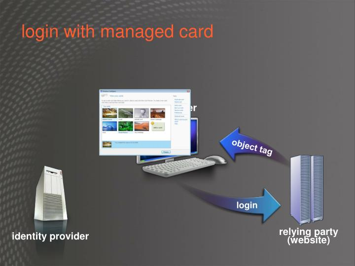 login with managed card