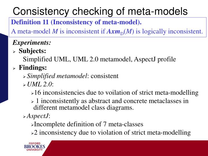 Consistency checking of meta-models