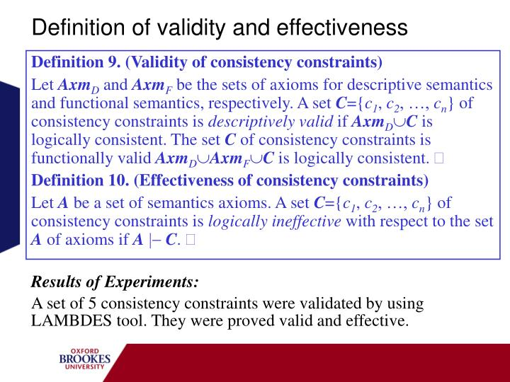 Definition of validity and effectiveness