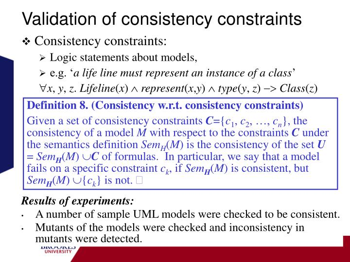 Validation of consistency constraints
