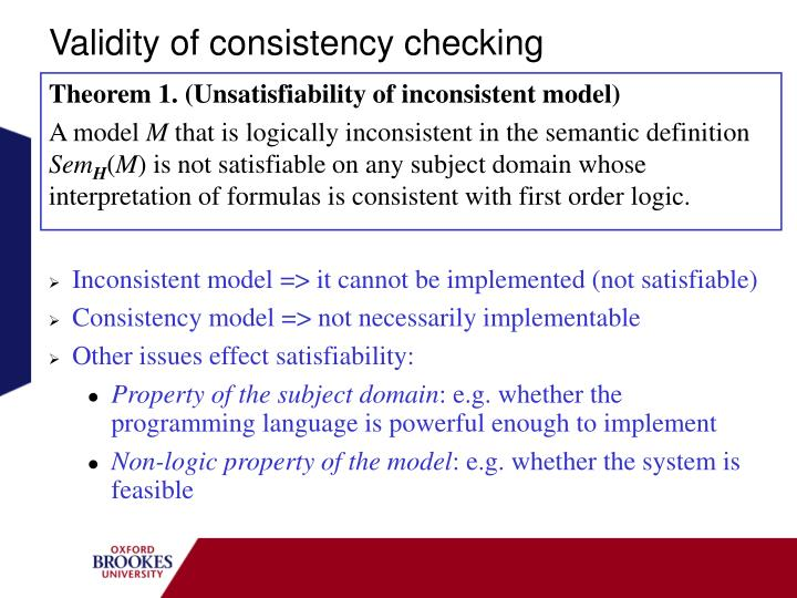 Validity of consistency checking