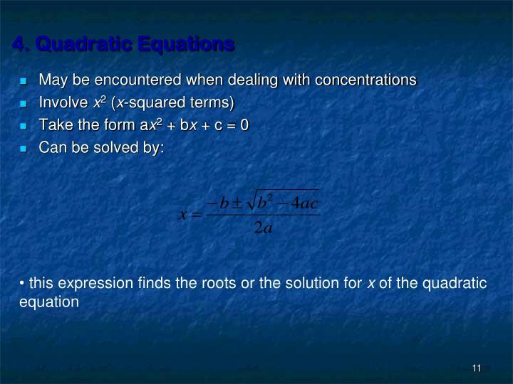 4. Quadratic Equations