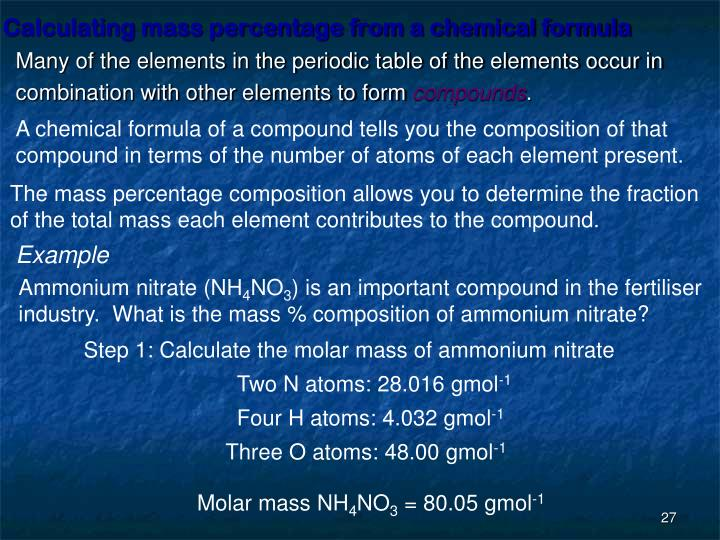 Calculating mass percentage from a chemical formula