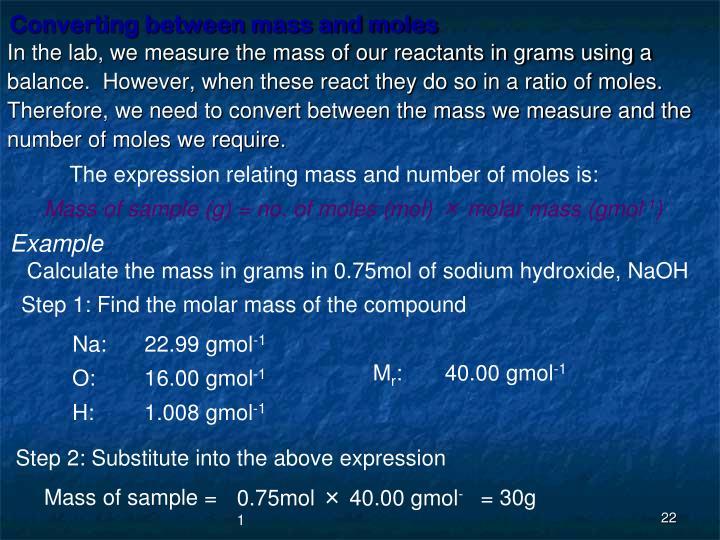 Converting between mass and moles