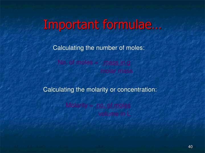 Important formulae…