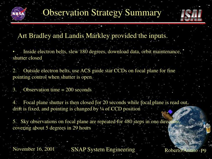 Observation Strategy Summary