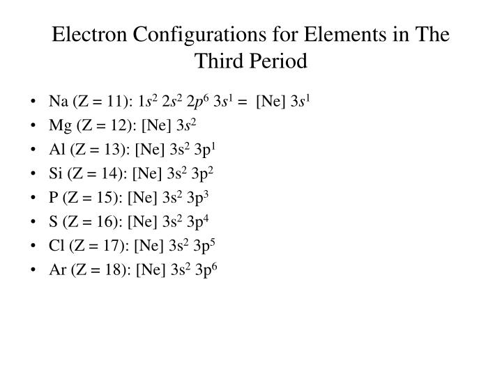 Electron Configurations for Elements in The Third Period