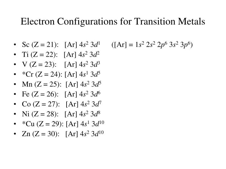 Electron Configurations for Transition Metals