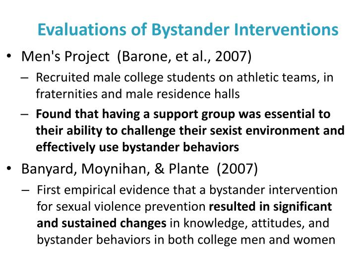 Evaluations of Bystander Interventions