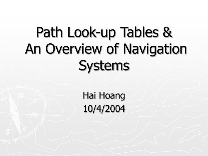 path look up tables an overview of navigation systems n.