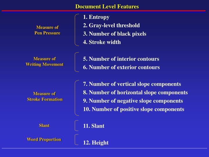 Document Level Features