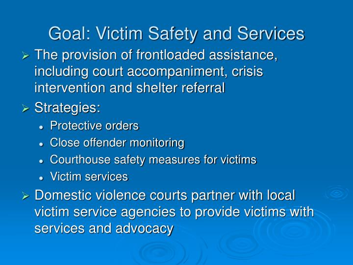 Goal: Victim Safety and Services