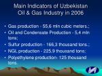 main indicators of uzbekistan oil gas industry in 2006