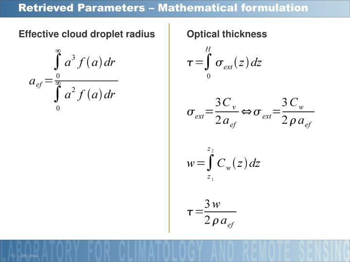 Retrieved Parameters – Mathematical formulation