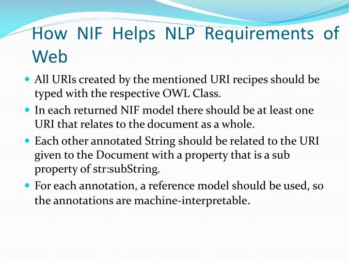 How NIF Helps NLP Requirements of Web