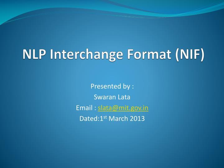 Nlp interchange format nif