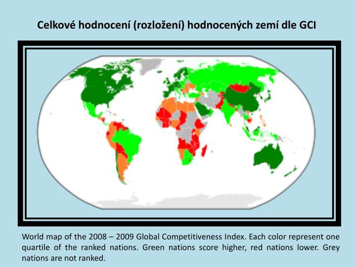 Celkové hodnocení (rozložení) hodnocených zemí dle GCI