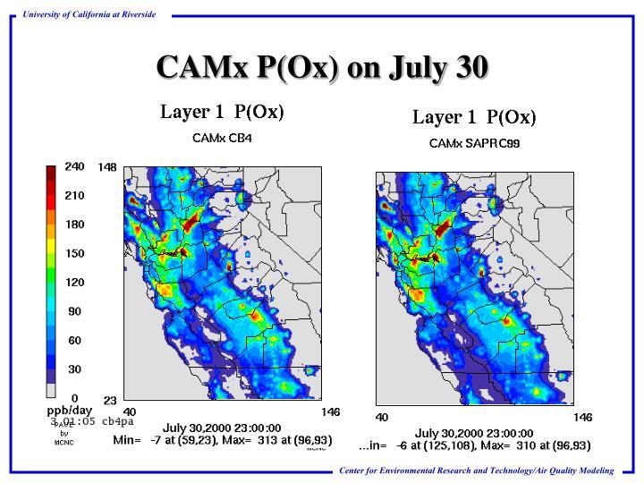 CAMx P(Ox) on July 30