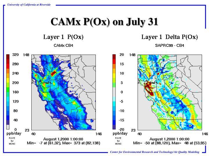 CAMx P(Ox) on July 31