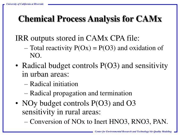 Chemical process analysis for camx