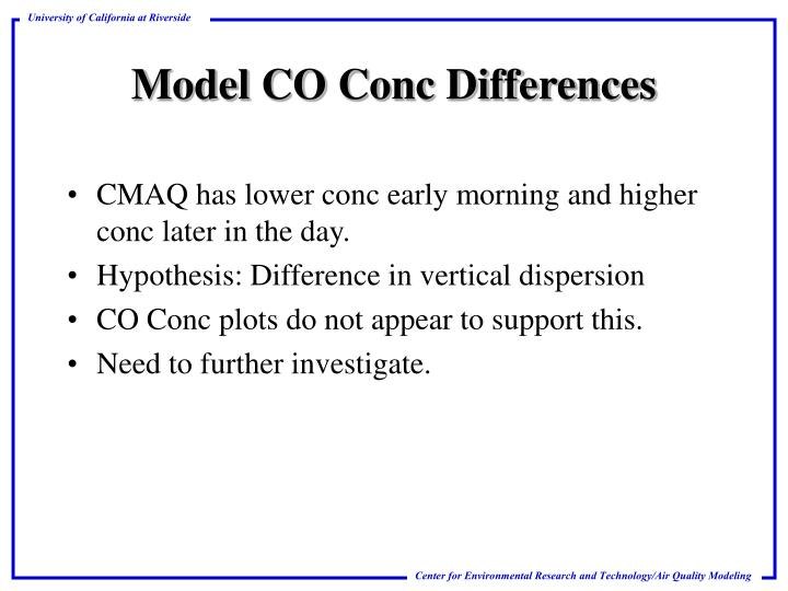 CMAQ has lower conc early morning and higher conc later in the day.