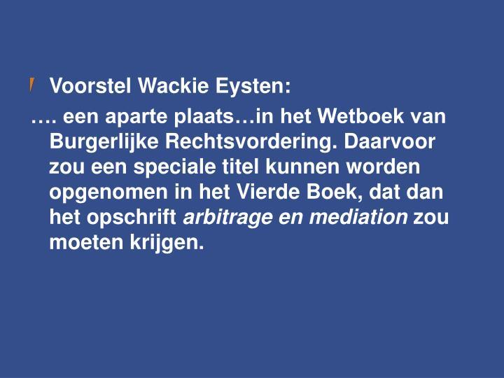 Voorstel Wackie Eysten: