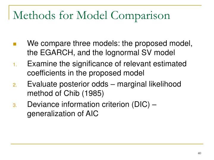 Methods for Model Comparison