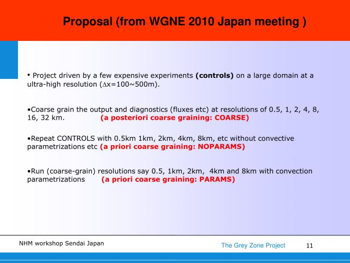 Proposal (from WGNE 2010 Japan meeting )