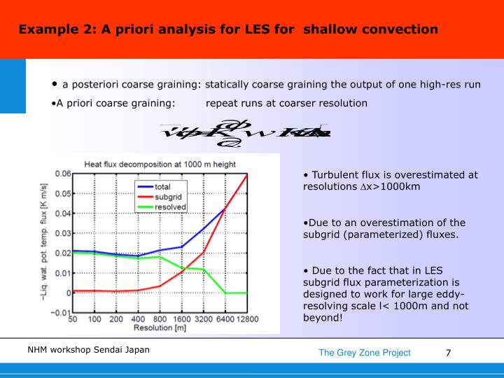 Example 2: A priori analysis for LES for  shallow convection