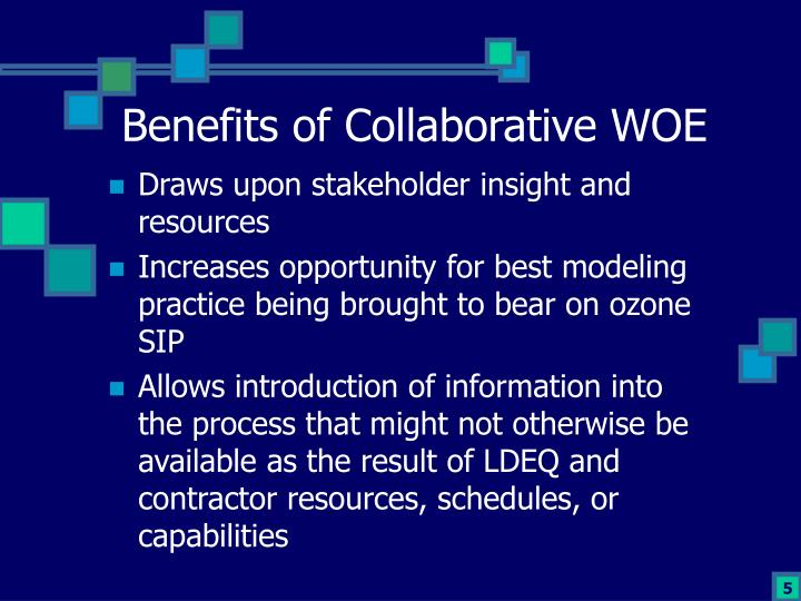 Benefits of Collaborative WOE