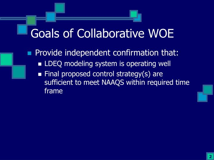 Goals of collaborative woe
