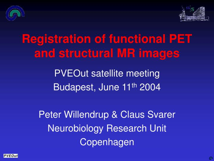 registration of functional pet and structural mr images n.