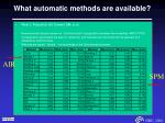 what automatic methods are available