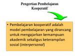pengertian pembelajaran kooperatif