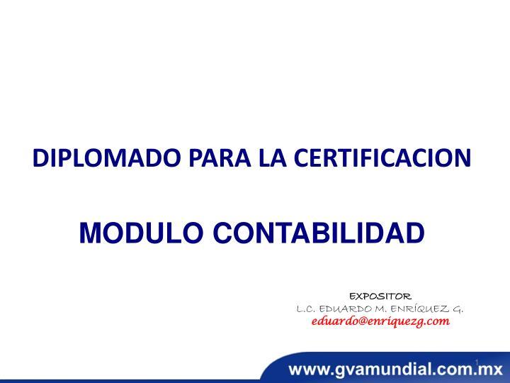 Diplomado para la certificacion modulo contabilidad