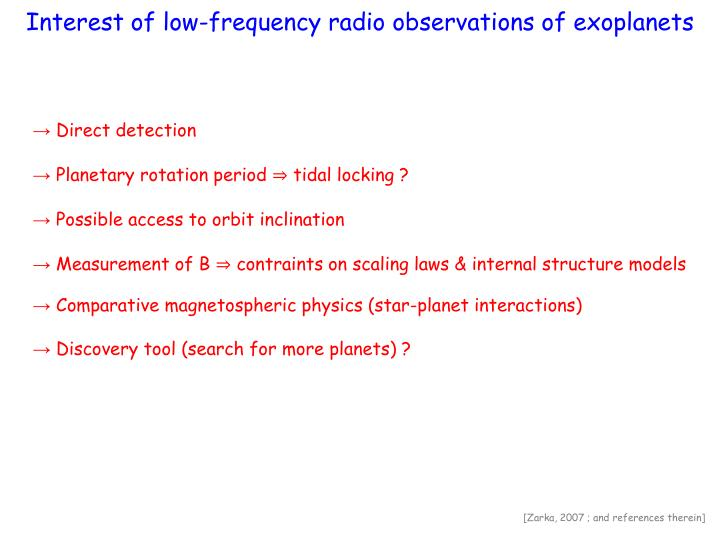 Interest of low-frequency radio observations of exoplanets