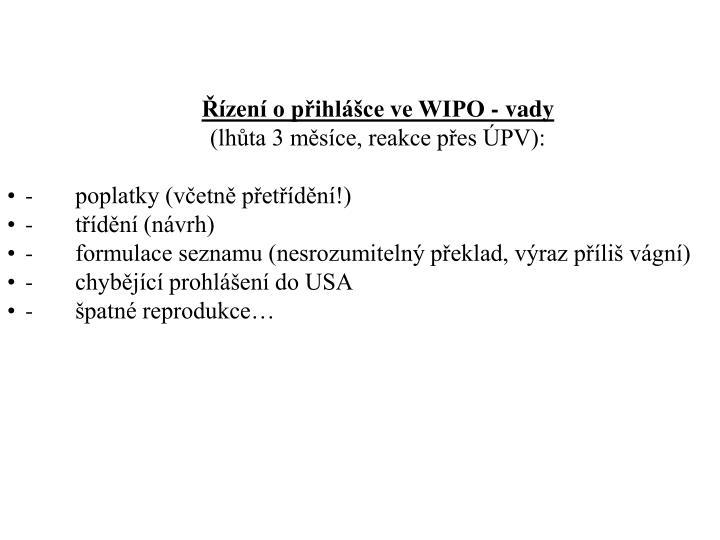 Řízení o přihlášce ve WIPO - v