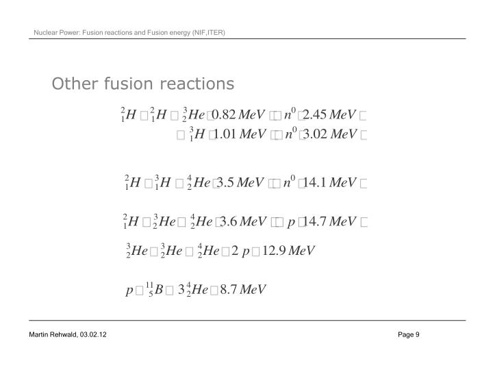 Other fusion reactions