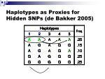 haplotypes as proxies for hidden snps de bakker 2005