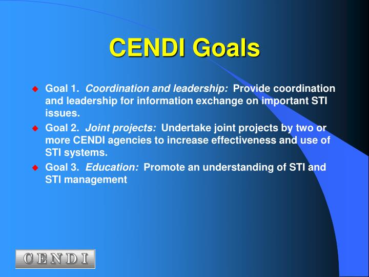 CENDI Goals
