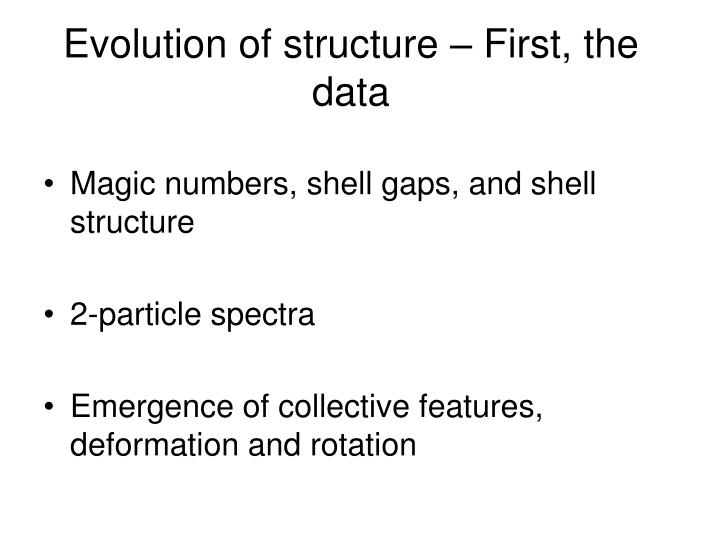 Evolution of structure – First, the data