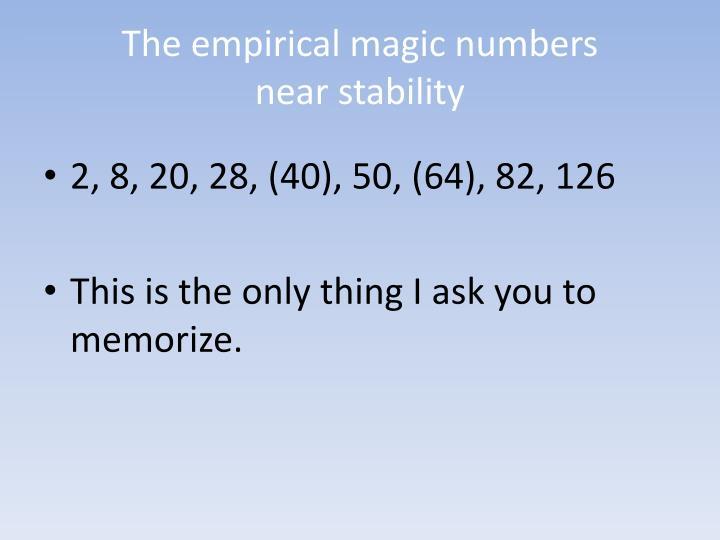 The empirical magic numbers