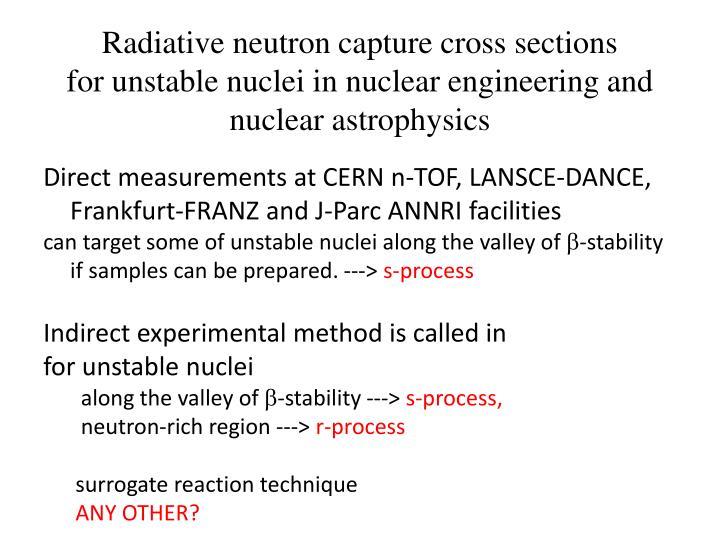 Radiative neutron capture cross sections