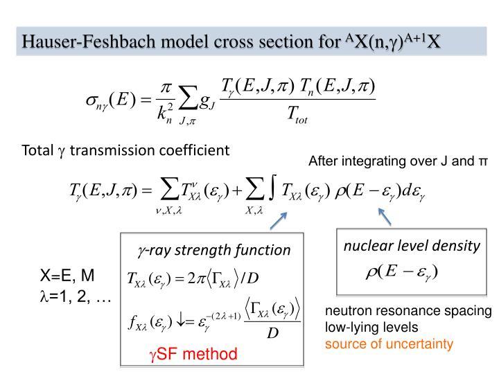 Hauser-Feshbach model cross section for