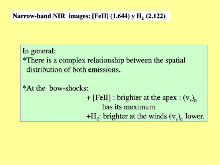 Narrow-band NIR  images: [FeII] (1.644) y H